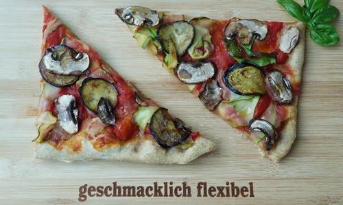 vegane Pizza mit Aubergine, Zucchini, Champignons und Trüffelöl