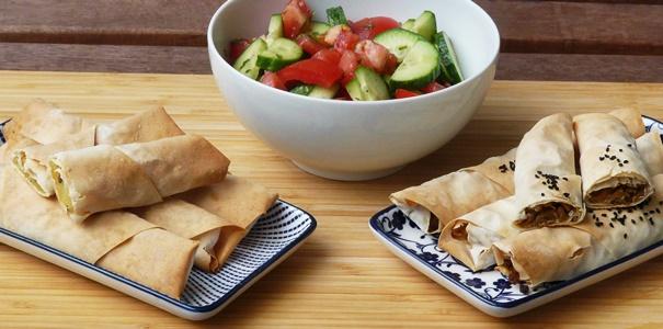 vegane Börekröllchen / Sigara böregi mit Füllungen aus Kartoffeln und Linsen