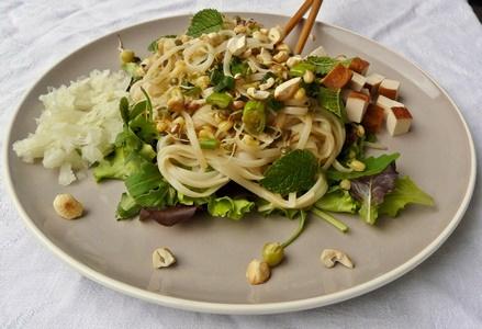 Veganes Rezept: Lauwarme Reisnudeln mit Sprossen und Pflücksalat